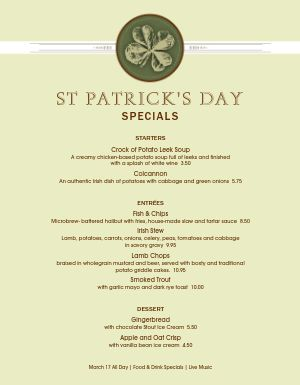 St Patricks Day Event Menu