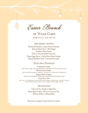 Restaurant Easter Brunch Menu