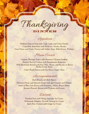 Thanksgiving Fall Menu