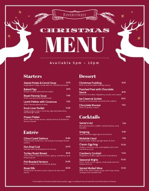 Holiday Christmas Menu