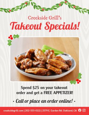 Holiday Takeout Announcement