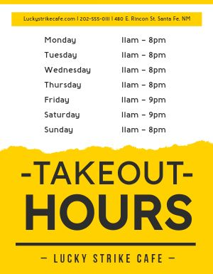 Takeout Hours Signage