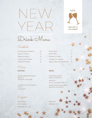 New Years Grey Menu