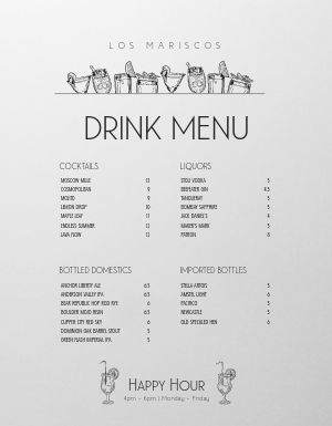 Simple Bar Drink Menu