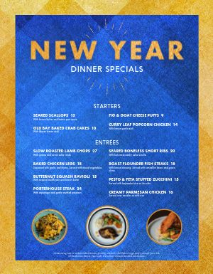 New Years Dinner Specials Menu