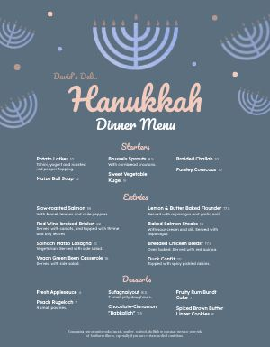 Hanukkah Menorah Menu