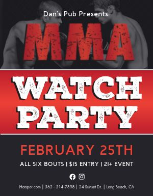 Fight Watch Party Flyer