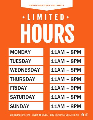 Limited Hours Sign