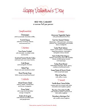 St Valentines Day Menu