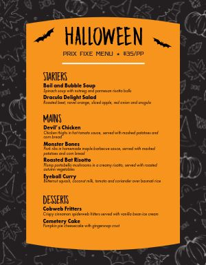 Scary Halloween Menu