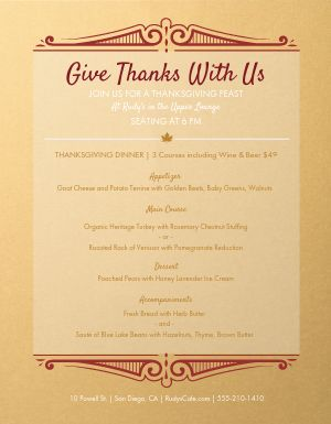 Thanksgiving Prix Fixe Menu