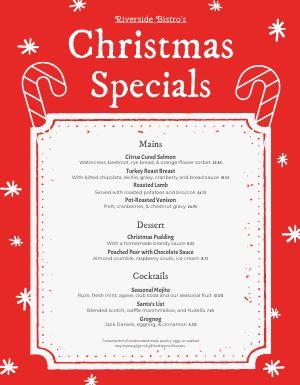 Christmas Specials Menu