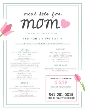 Moms Day Menu