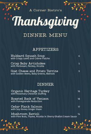 Woodgrain Thanksgiving Tabletop Insert
