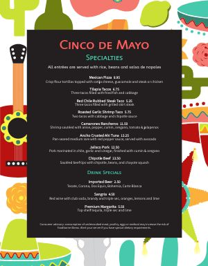 Fun Cinco De Mayo Menu