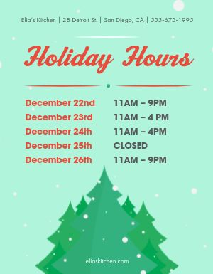 Holiday Season Hours Flyer