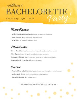 Bachelorette Party Menu