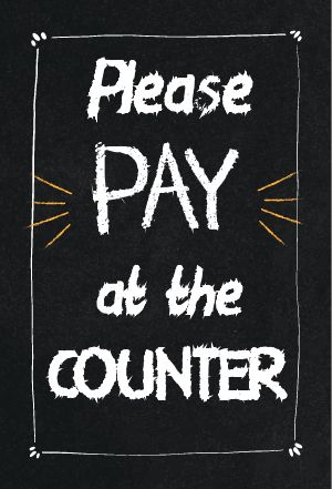Pay Counter Table Tent