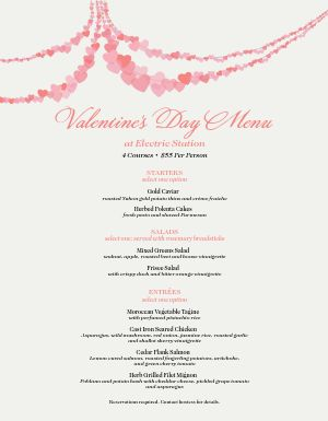 Menu For Valentines Day