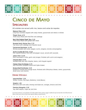 Colorful Cinco De Mayo Menu