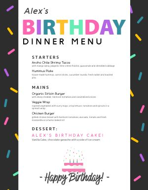 Birthday Party Menu
