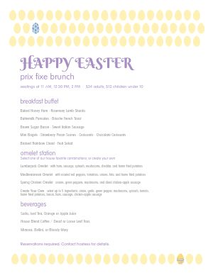 Easter Sunday Brunch Menu