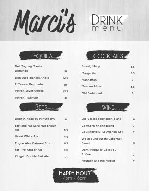 Noir Bar Menu