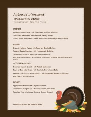 Family Thanksgiving Menu