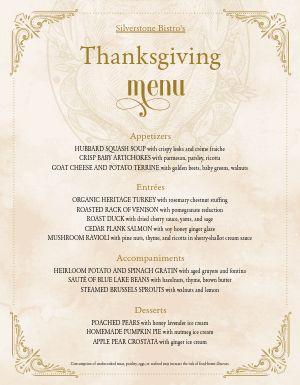 Upscale Thanksgiving Menu