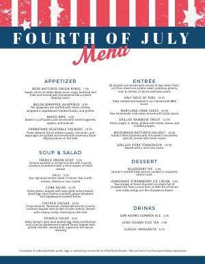 Printable Fourth of July Menu