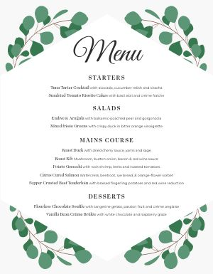 Private Event Menu