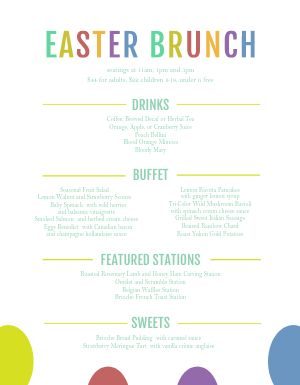 Rainbow Easter Menu