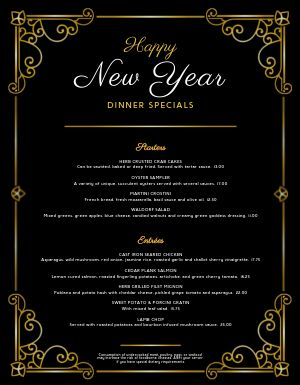 Happy New Year Specials Menu