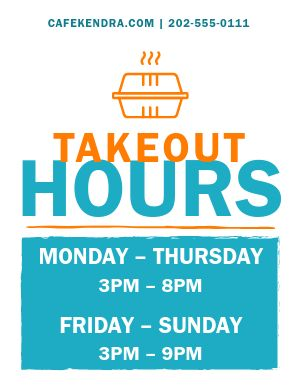 Takeout Hours Announcement