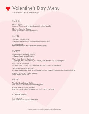 Valentines Dinner Menu