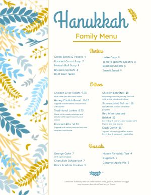 Fresh Hanukkah Menu