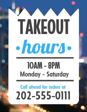 Takeout Hours Notice Flyer