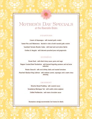 Mothers Day May Menu