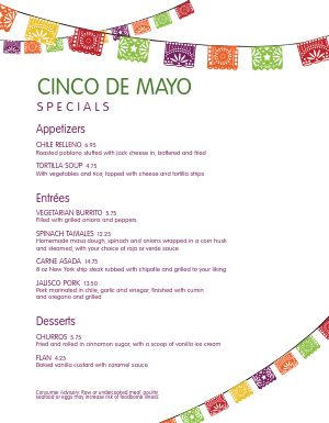 Cinco de Mayo Specials Menu