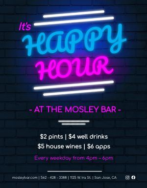 Happy Hour Neon Flyer