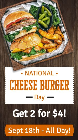 Cheeseburger Day Facebook Story