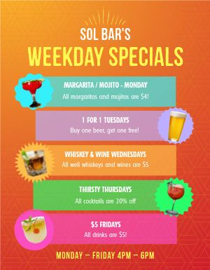 Weekday Bar Specials Flyer