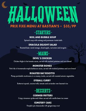 Halloween Holiday Menu