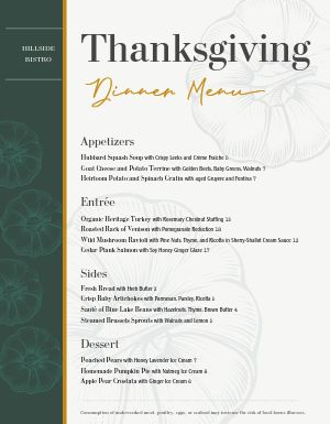 Thanksgiving Pumpkins Menu