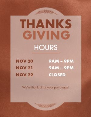 Thanksgiving Day Hours Flyer