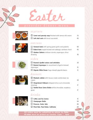 Easter Preorder Menu