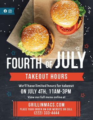 Fourth of July Burgers Sign