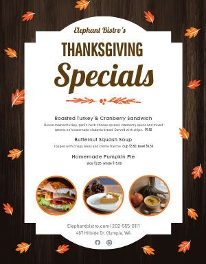 Thanksgiving Specials Sign