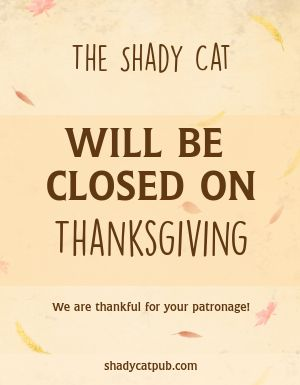 Closed for Thanksgiving Flyer