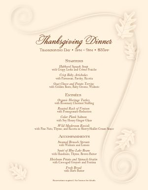Cafe Thanksgiving Menu
